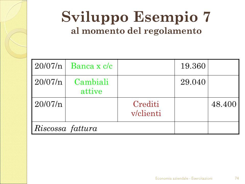 Sviluppo Esempio 7 al momento del regolamento