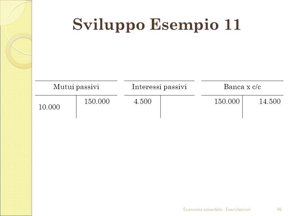 Sviluppo Esempio 11 Mutui passivi Interessi passivi Banca x c/c 10.000