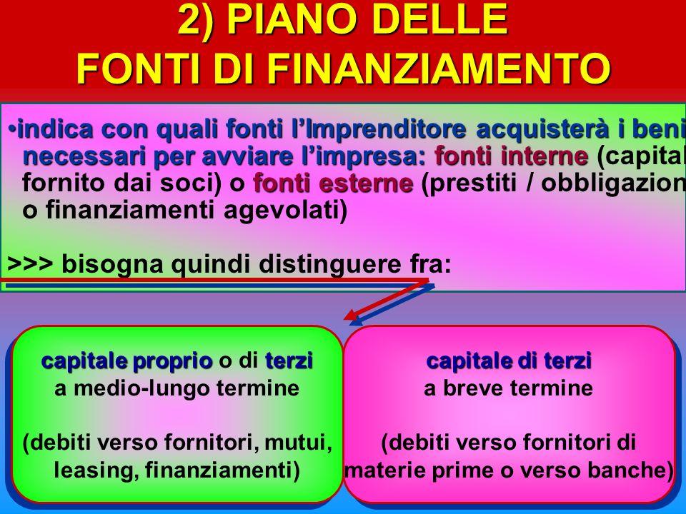 2) PIANO DELLE FONTI DI FINANZIAMENTO