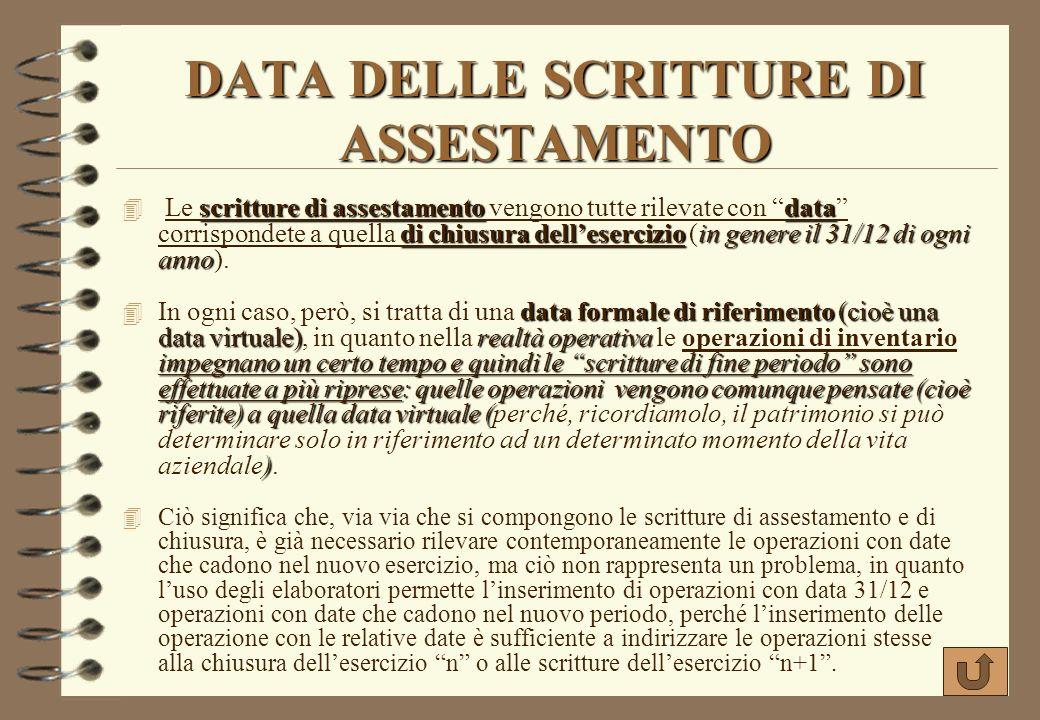 DATA DELLE SCRITTURE DI ASSESTAMENTO