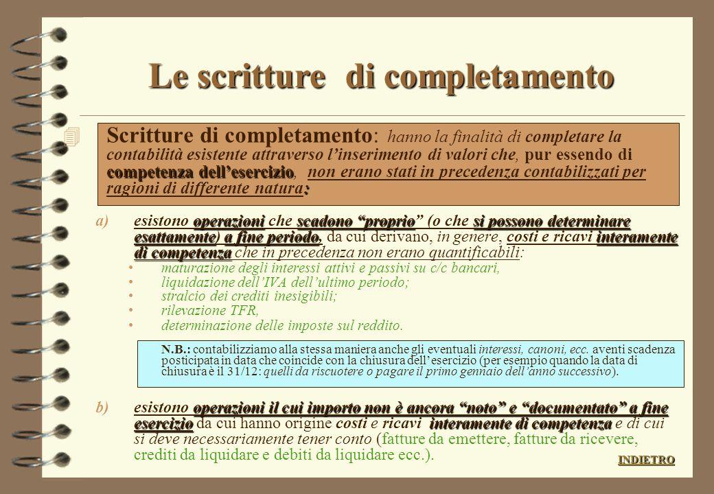 Le scritture di completamento