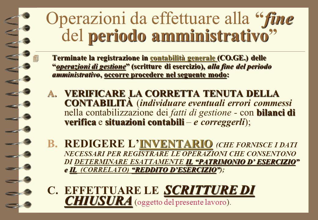 Operazioni da effettuare alla fine del periodo amministrativo