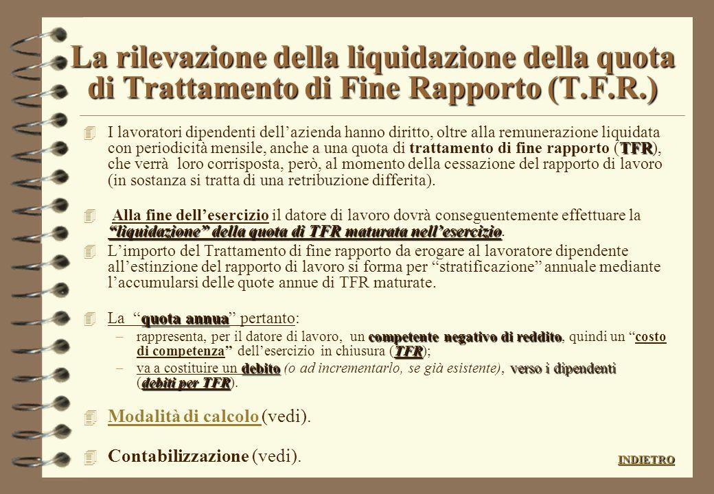 La rilevazione della liquidazione della quota di Trattamento di Fine Rapporto (T.F.R.)