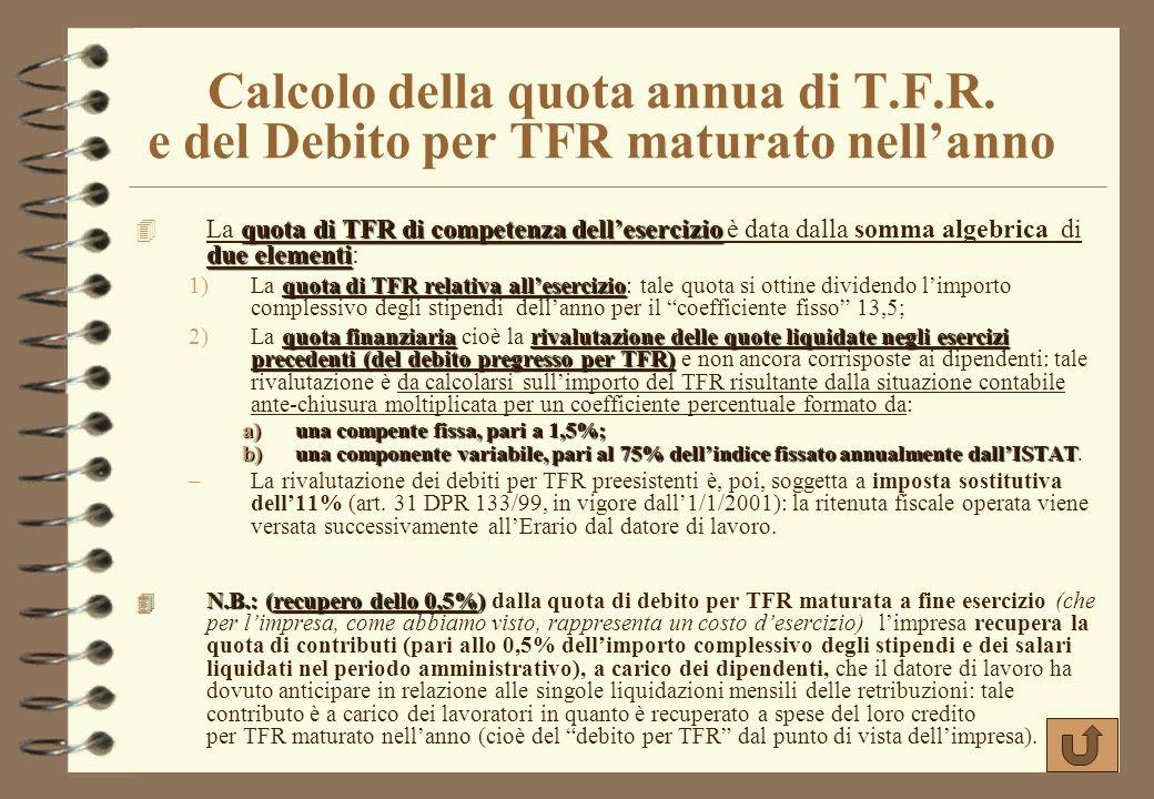 Calcolo della quota annua di T. F. R