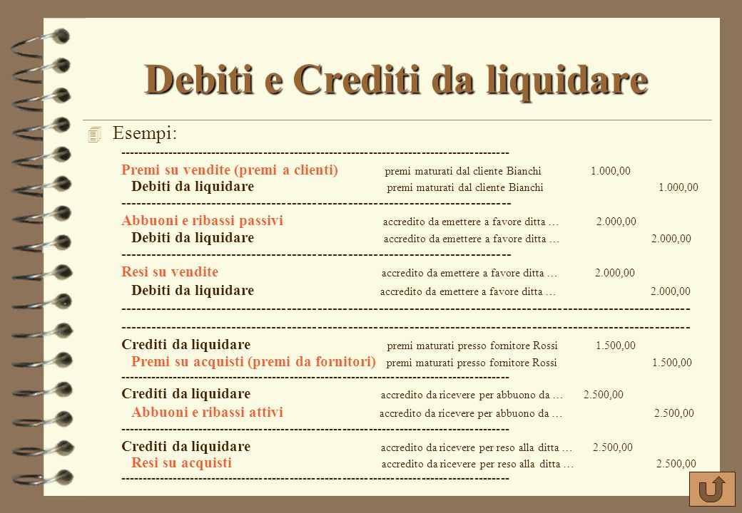 Debiti e Crediti da liquidare