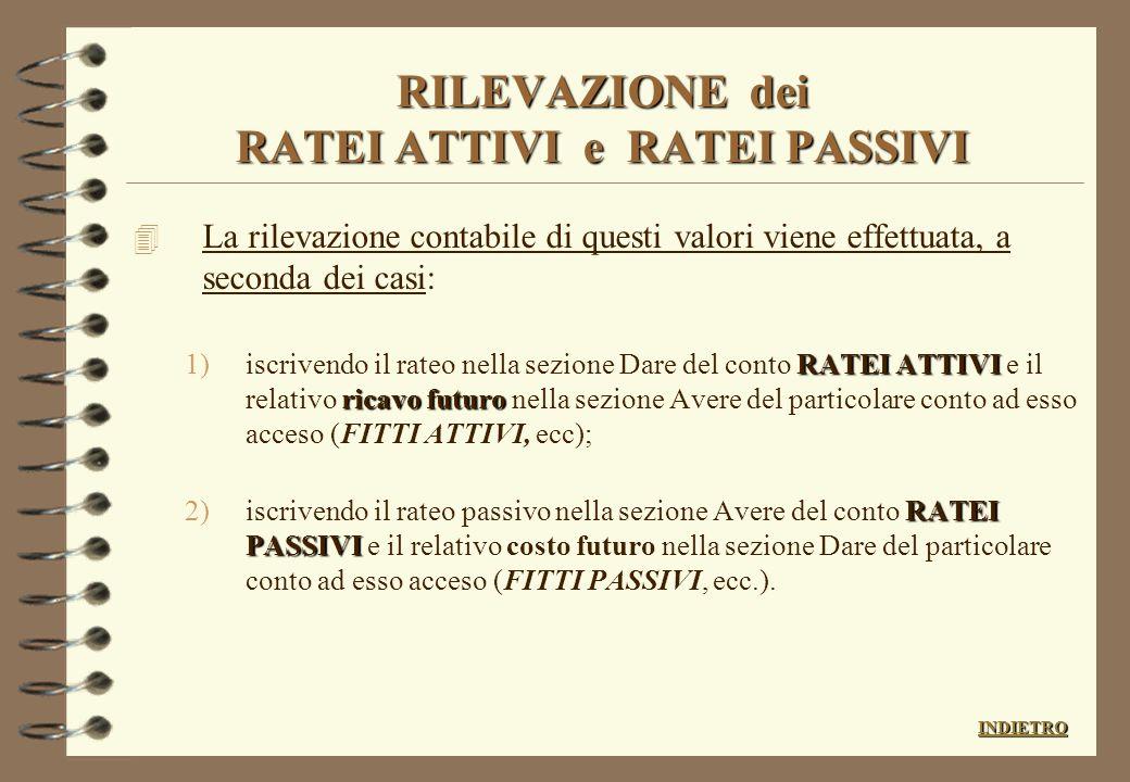 RILEVAZIONE dei RATEI ATTIVI e RATEI PASSIVI