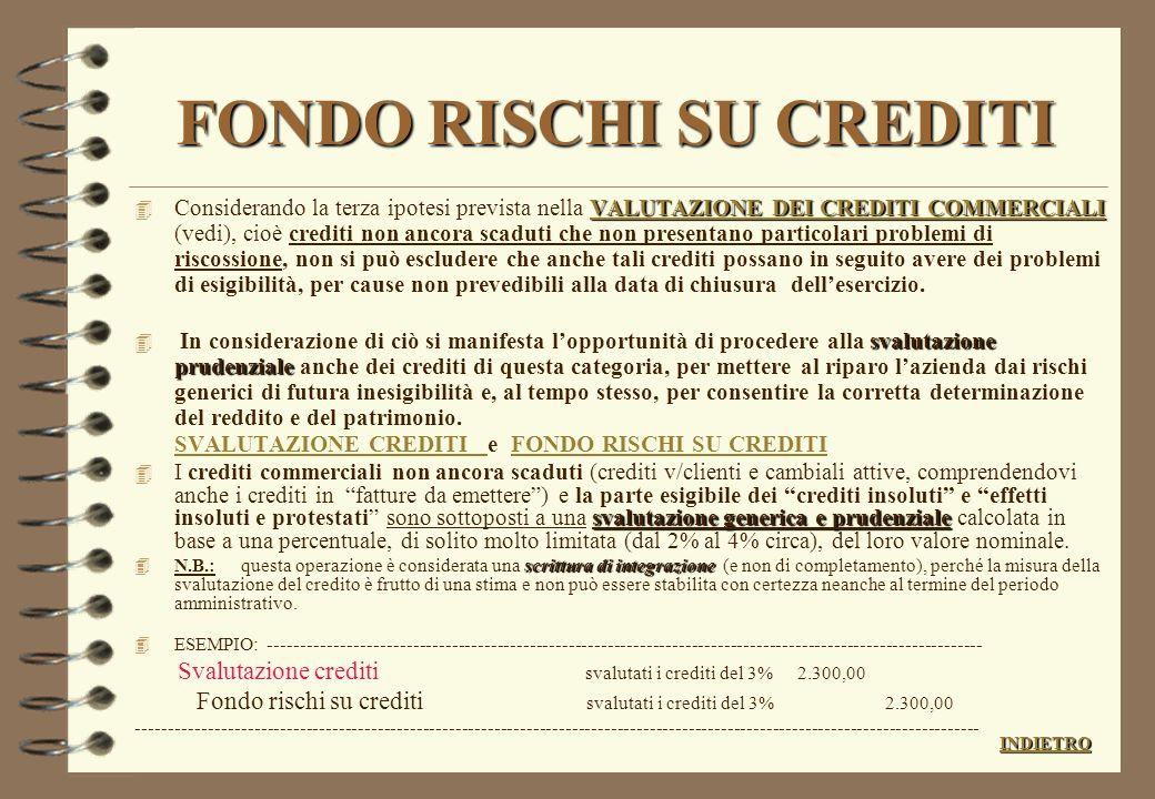 FONDO RISCHI SU CREDITI