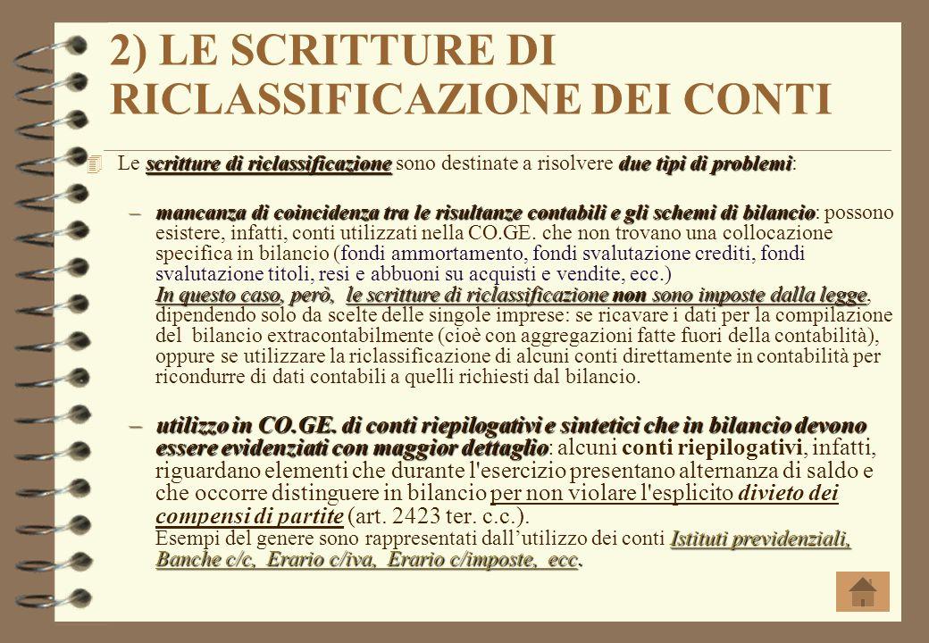 2) LE SCRITTURE DI RICLASSIFICAZIONE DEI CONTI
