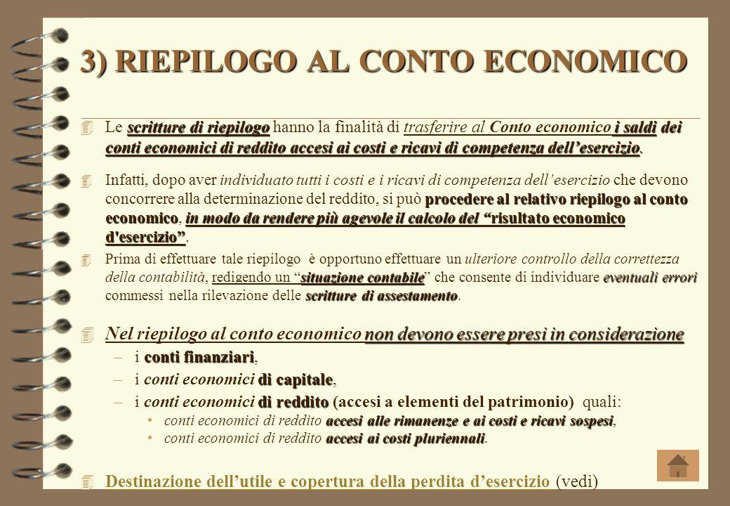 3) RIEPILOGO AL CONTO ECONOMICO