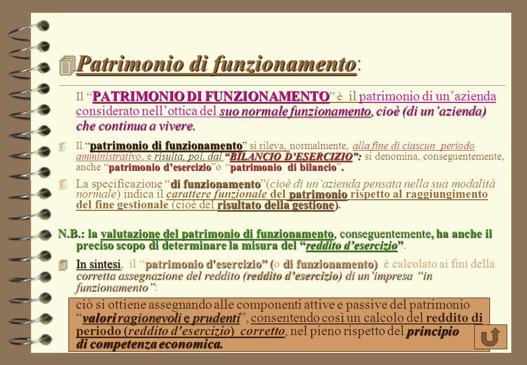 Patrimonio di funzionamento: Il PATRIMONIO DI FUNZIONAMENTO è il patrimonio di un'azienda considerato nell'ottica del suo normale funzionamento, cioè (di un'azienda) che continua a vivere.