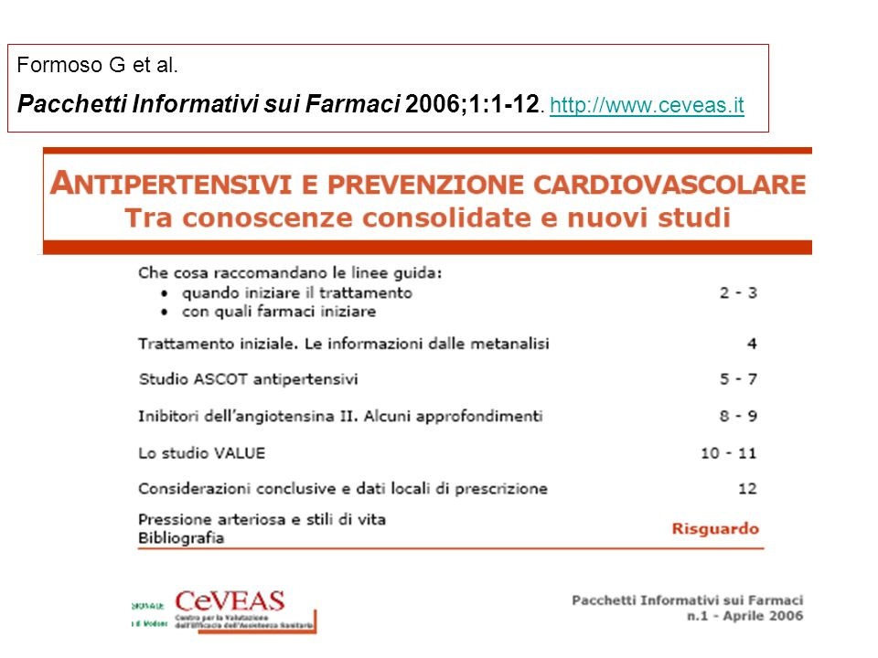 Pacchetti Informativi sui Farmaci 2006;1:1-12. http://www.ceveas.it