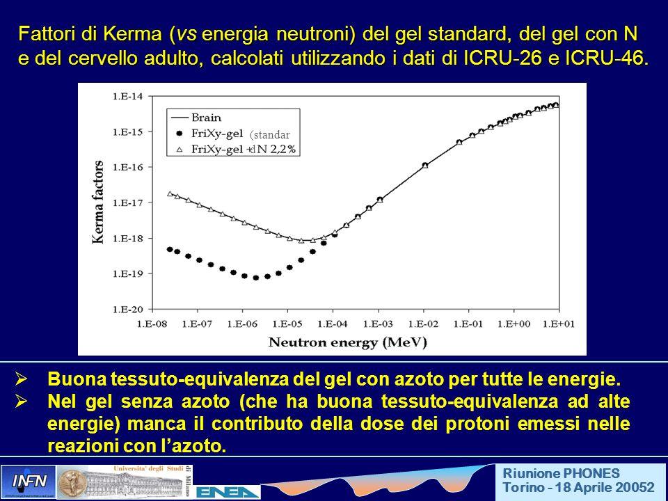 Fattori di Kerma (vs energia neutroni) del gel standard, del gel con N e del cervello adulto, calcolati utilizzando i dati di ICRU-26 e ICRU-46.
