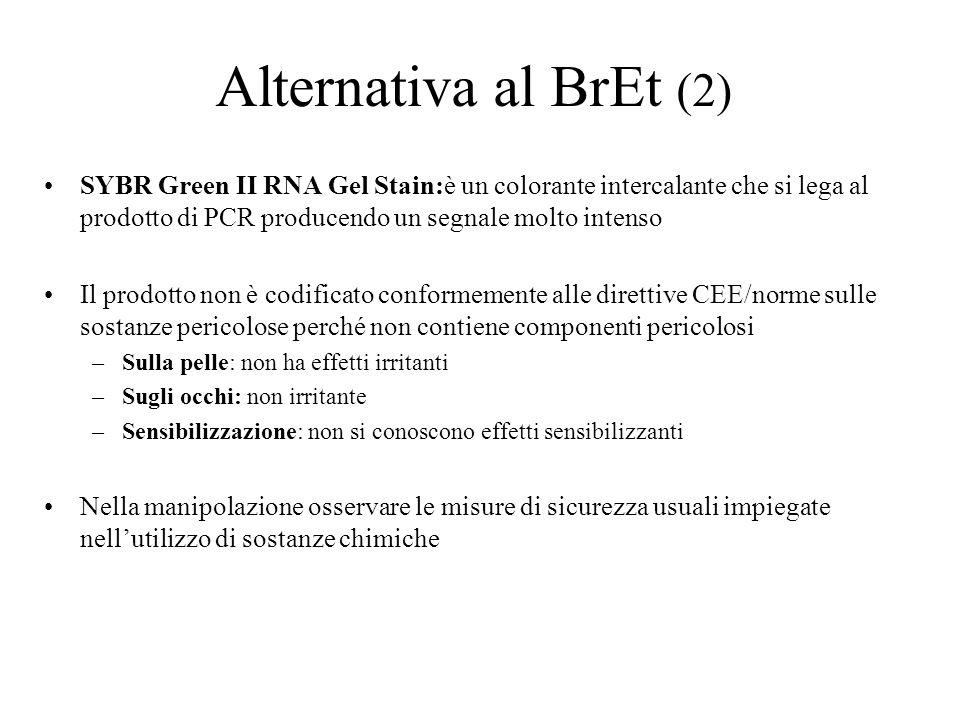 Alternativa al BrEt (2) SYBR Green II RNA Gel Stain:è un colorante intercalante che si lega al prodotto di PCR producendo un segnale molto intenso.