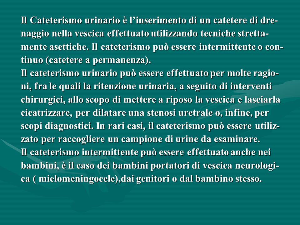 Il Cateterismo urinario è l'inserimento di un catetere di dre-