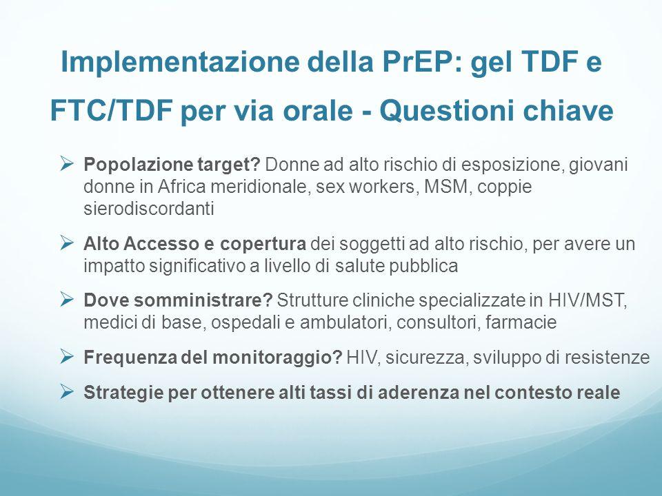 Implementazione della PrEP: gel TDF e FTC/TDF per via orale - Questioni chiave