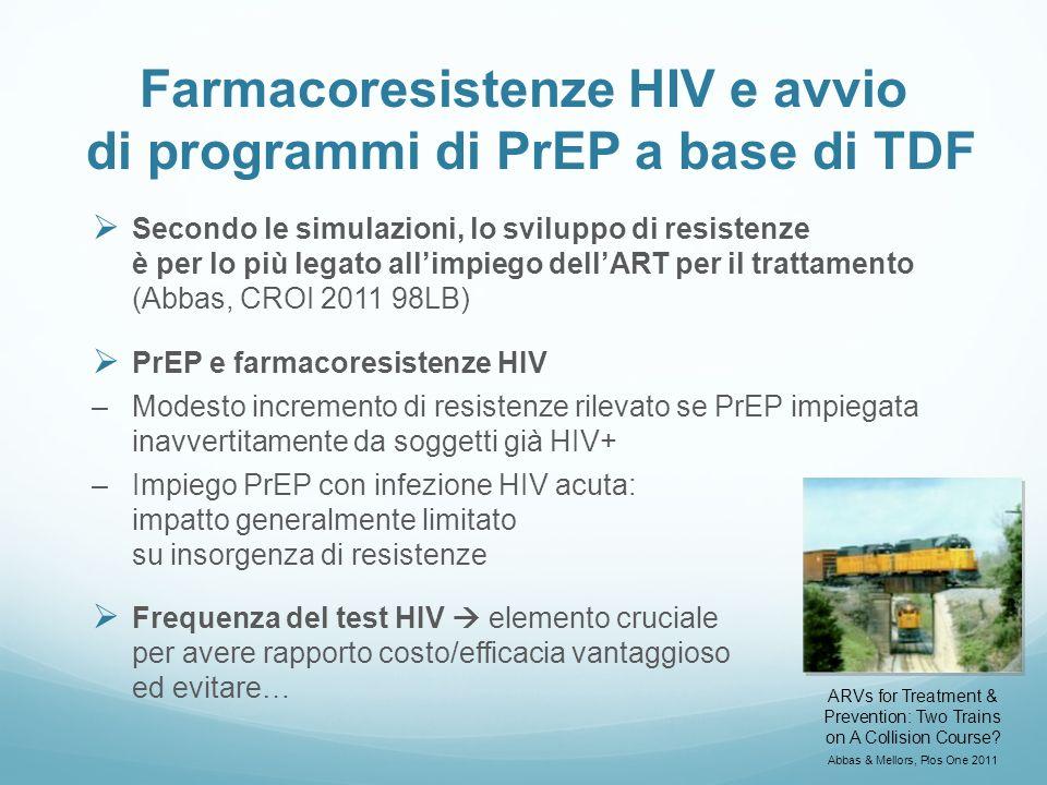 Farmacoresistenze HIV e avvio di programmi di PrEP a base di TDF