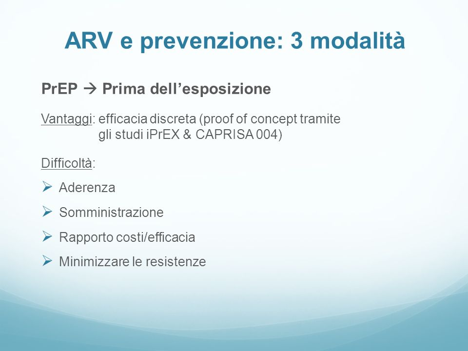 ARV e prevenzione: 3 modalità