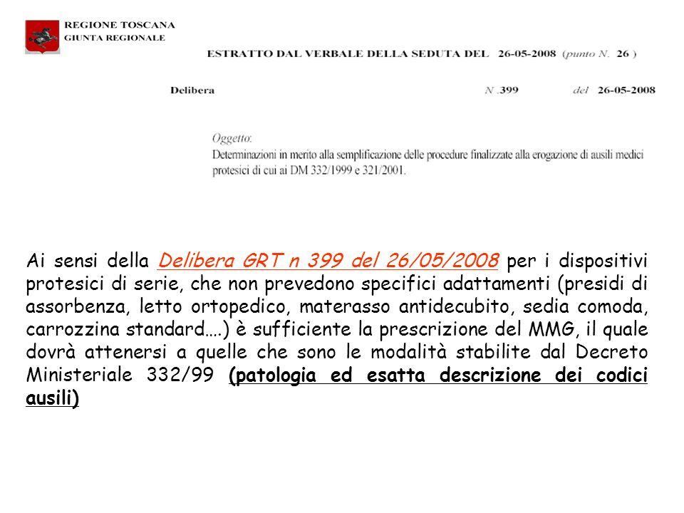 Ai sensi della Delibera GRT n 399 del 26/05/2008 per i dispositivi protesici di serie, che non prevedono specifici adattamenti (presidi di assorbenza, letto ortopedico, materasso antidecubito, sedia comoda, carrozzina standard….) è sufficiente la prescrizione del MMG, il quale dovrà attenersi a quelle che sono le modalità stabilite dal Decreto Ministeriale 332/99 (patologia ed esatta descrizione dei codici ausili)
