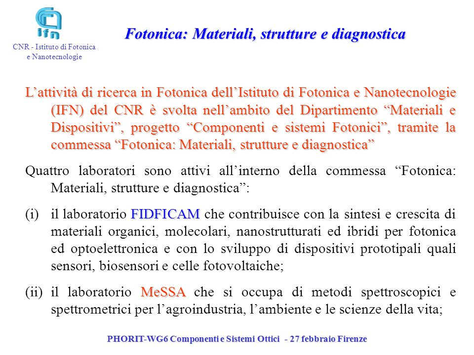 Fotonica: Materiali, strutture e diagnostica