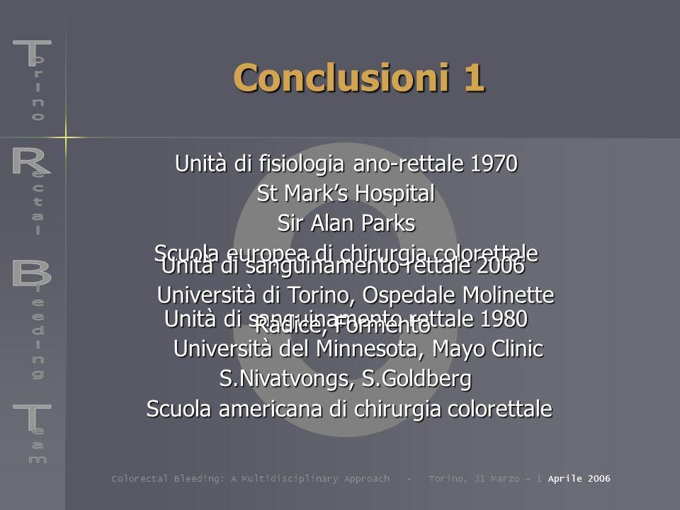 Conclusioni 1 R B T Unità di fisiologia ano-rettale 1970