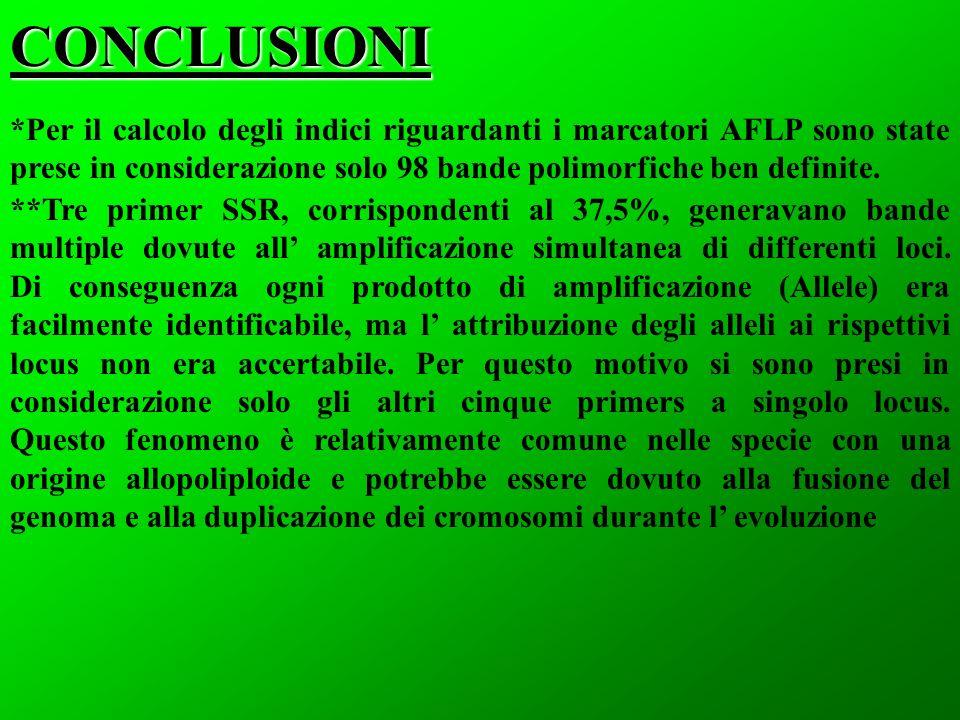 CONCLUSIONI *Per il calcolo degli indici riguardanti i marcatori AFLP sono state prese in considerazione solo 98 bande polimorfiche ben definite.