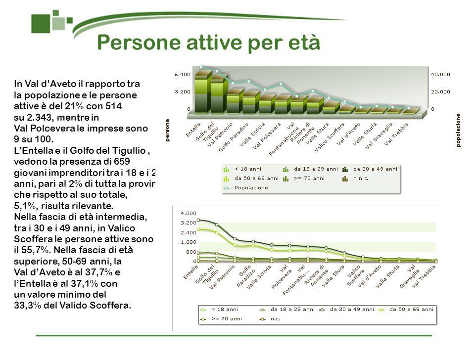 Persone attive per età In Val d'Aveto il rapporto tra