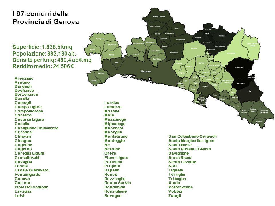 I 67 comuni della Provincia di Genova Superficie: 1.838,5 kmq