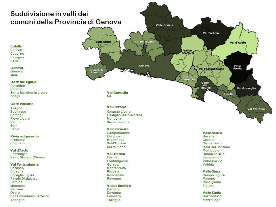 Suddivisione in valli dei comuni della Provincia di Genova
