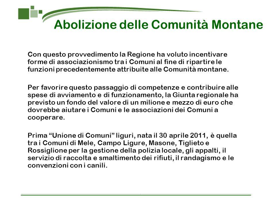 Abolizione delle Comunità Montane