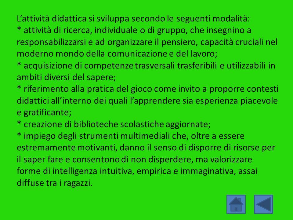 L'attività didattica si sviluppa secondo le seguenti modalità: