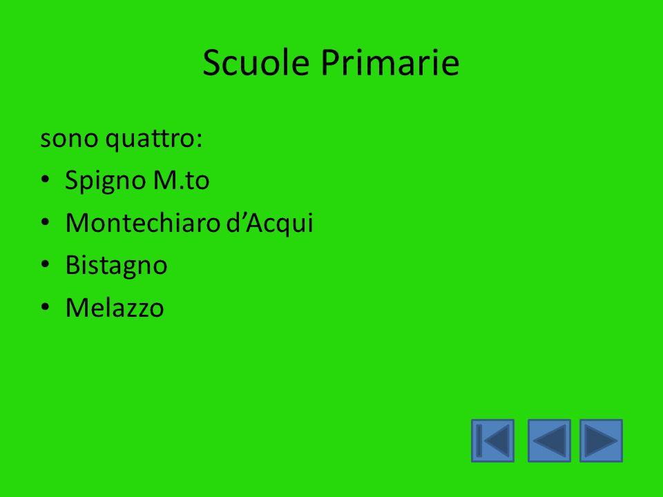 Scuole Primarie sono quattro: Spigno M.to Montechiaro d'Acqui Bistagno