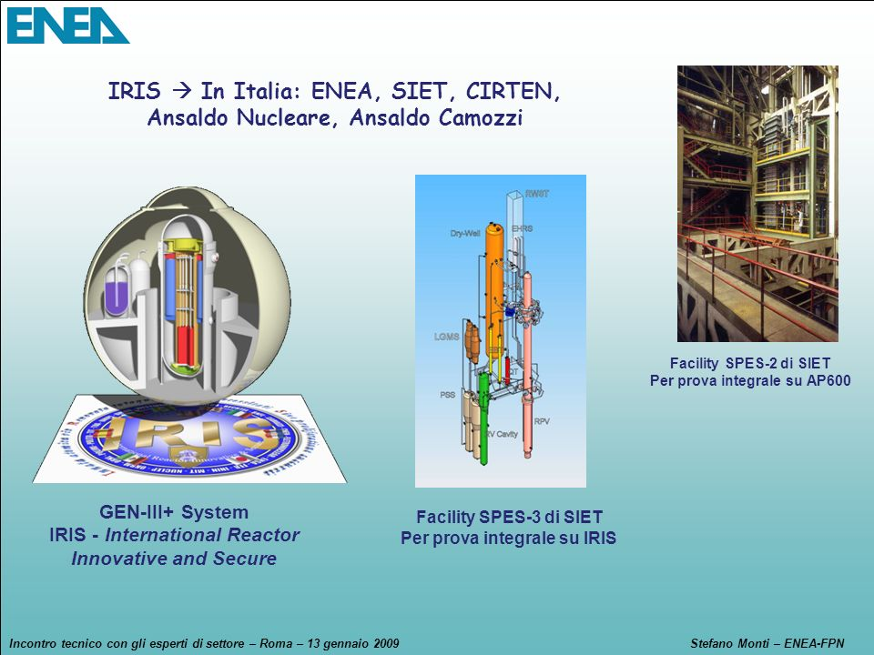 IRIS  In Italia: ENEA, SIET, CIRTEN,