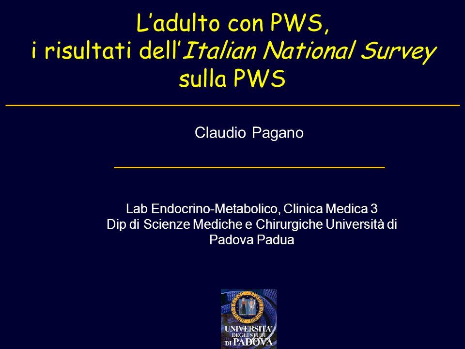 i risultati dell'Italian National Survey sulla PWS