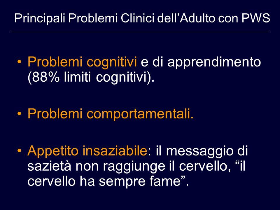 Problemi cognitivi e di apprendimento (88% limiti cognitivi).