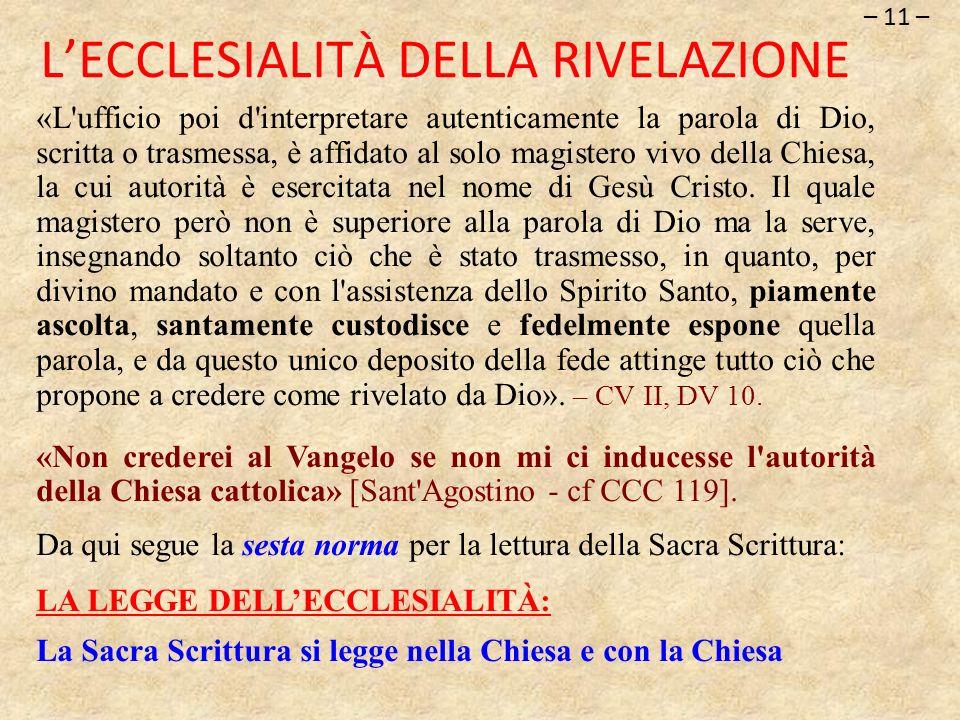 L'ECCLESIALITÀ DELLA RIVELAZIONE
