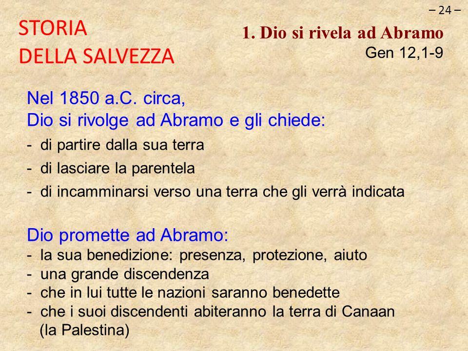 STORIA DELLA SALVEZZA 1. Dio si rivela ad Abramo Gen 12,1-9