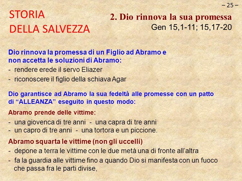 – 25 – STORIA DELLA SALVEZZA. 2. Dio rinnova la sua promessa Gen 15,1-11; 15,17-20.