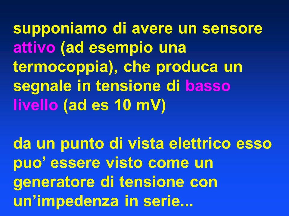 supponiamo di avere un sensore attivo (ad esempio una termocoppia), che produca un segnale in tensione di basso livello (ad es 10 mV)