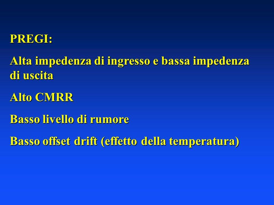 PREGI: Alta impedenza di ingresso e bassa impedenza di uscita. Alto CMRR. Basso livello di rumore.