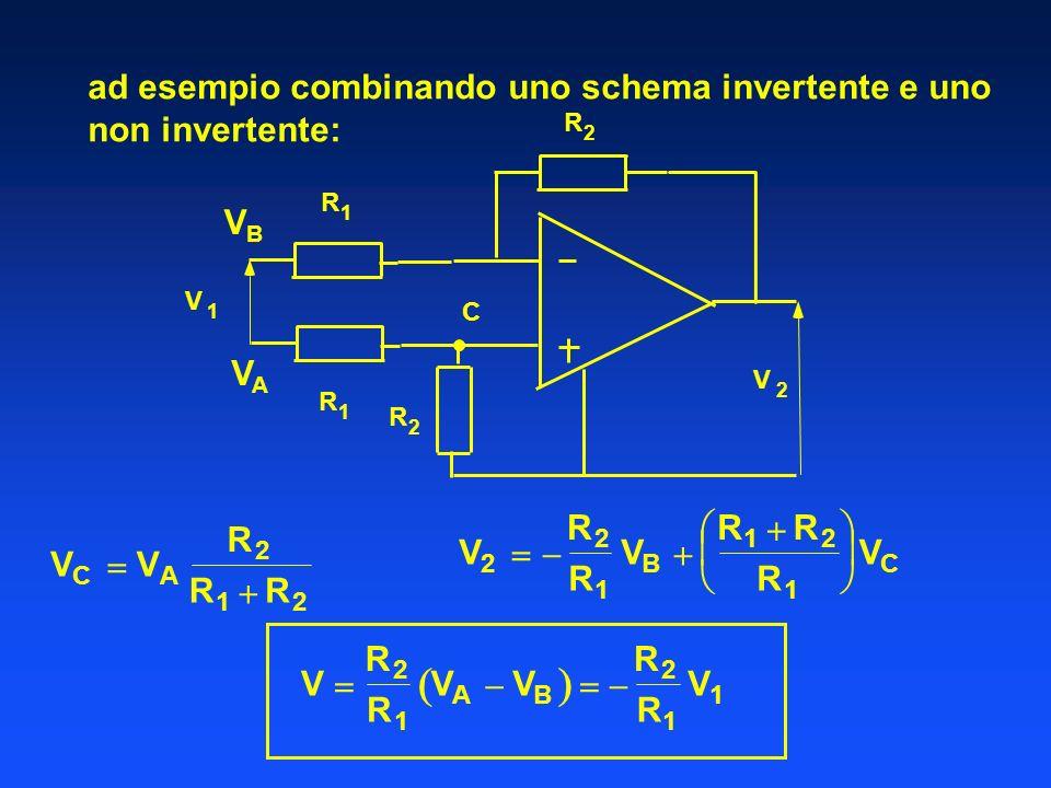   ad esempio combinando uno schema invertente e uno non invertente: