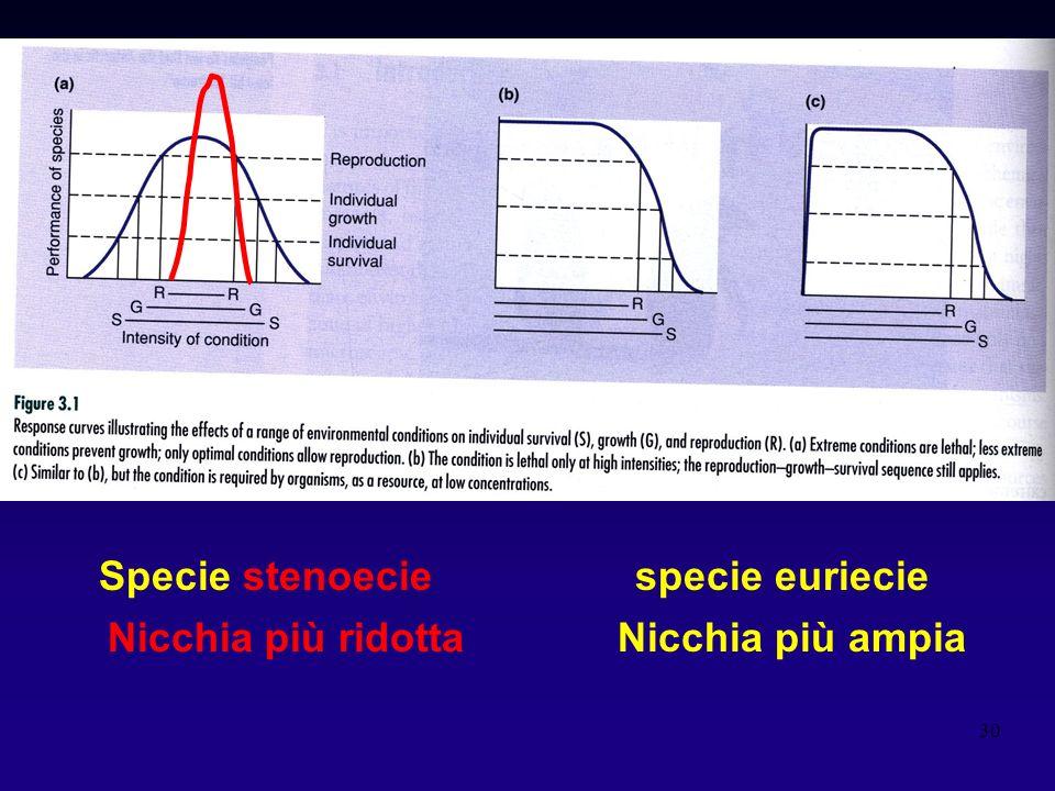 Specie stenoecie specie euriecie Nicchia più ridotta Nicchia più ampia