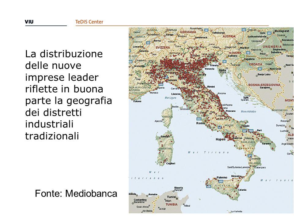 La distribuzione delle nuove imprese leader riflette in buona parte la geografia dei distretti industriali tradizionali
