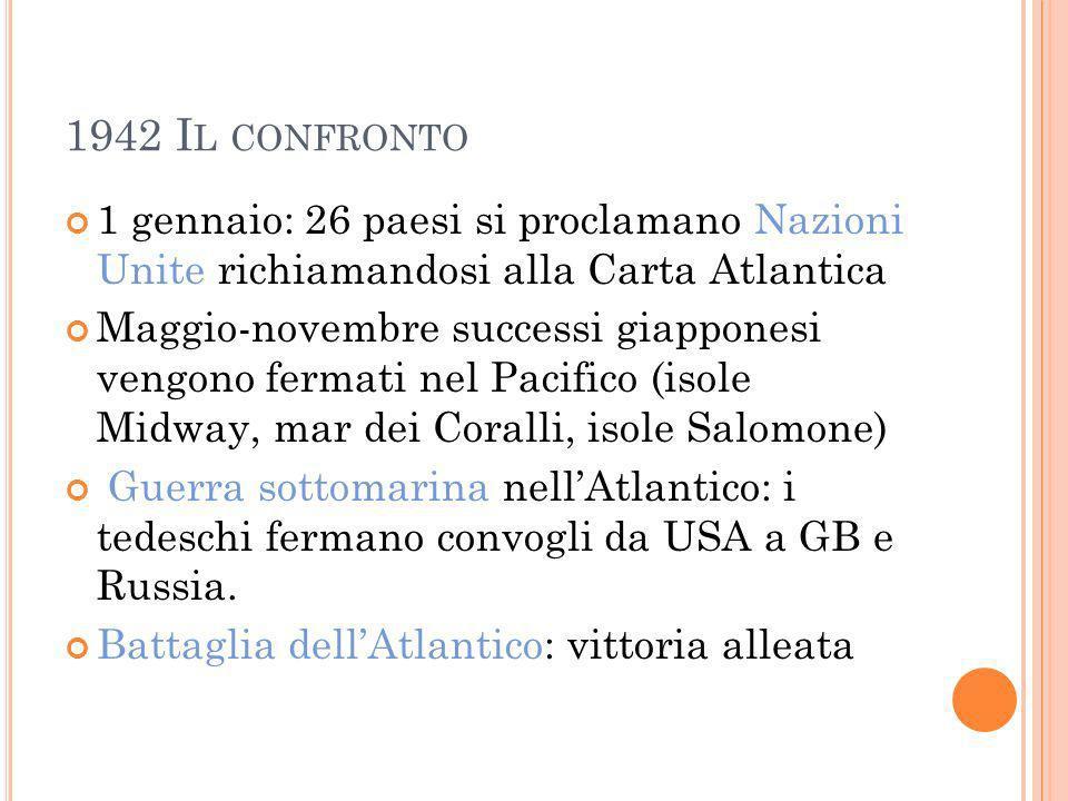 1942 Il confronto 1 gennaio: 26 paesi si proclamano Nazioni Unite richiamandosi alla Carta Atlantica.
