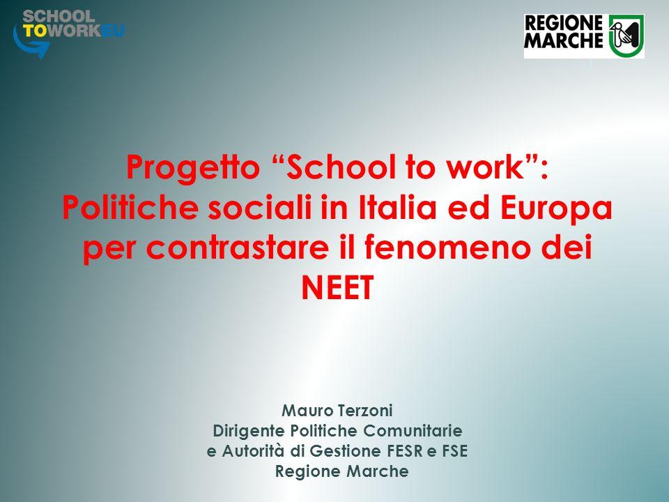 Progetto School to work : Politiche sociali in Italia ed Europa per contrastare il fenomeno dei NEET Mauro Terzoni Dirigente Politiche Comunitarie e Autorità di Gestione FESR e FSE Regione Marche