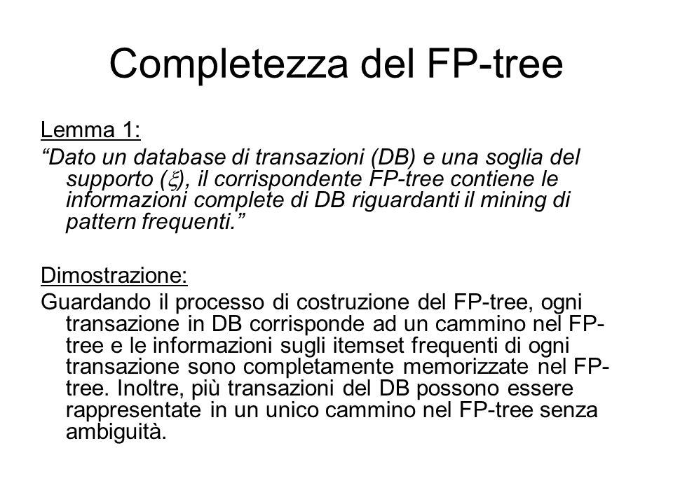 Completezza del FP-tree