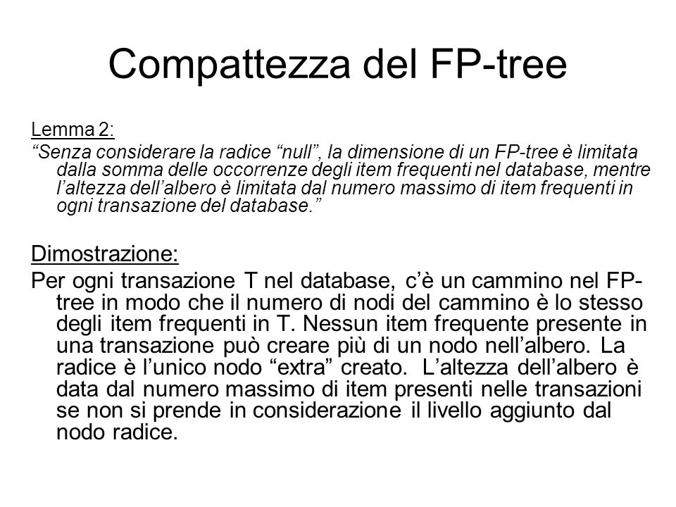 Compattezza del FP-tree
