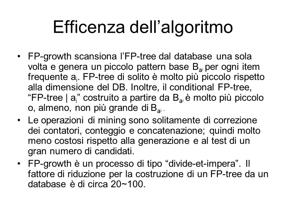 Efficenza dell'algoritmo