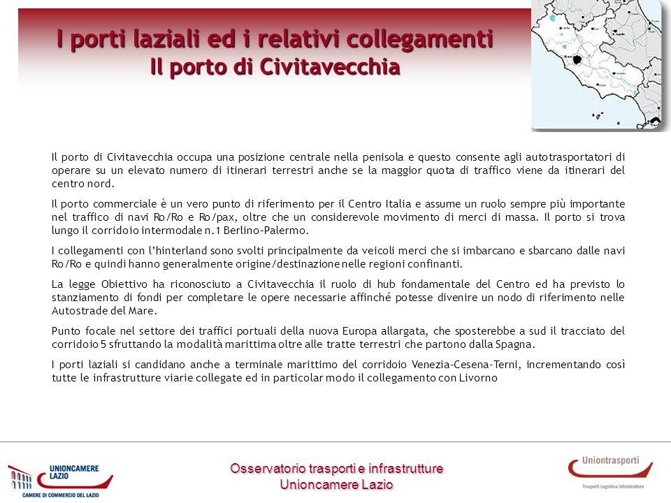 I porti laziali ed i relativi collegamenti Il porto di Civitavecchia