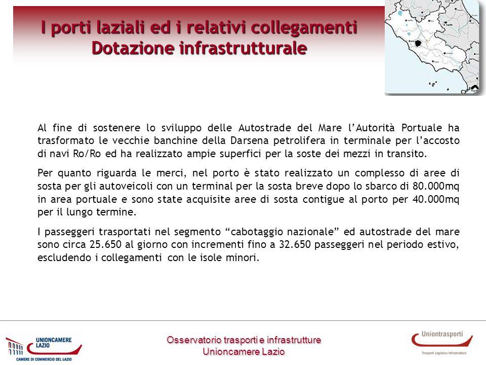 I porti laziali ed i relativi collegamenti Dotazione infrastrutturale