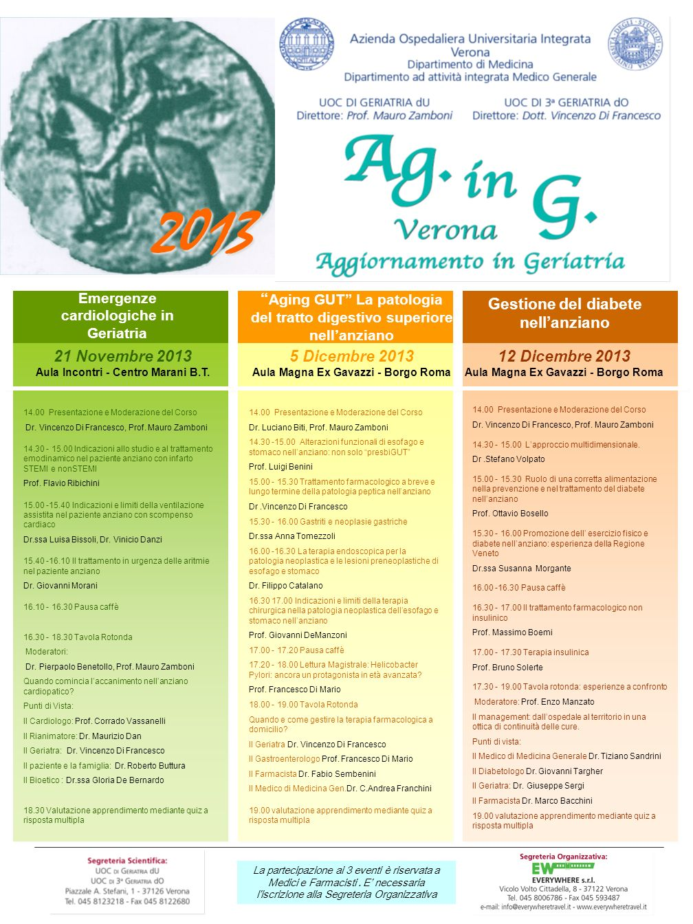 2013 Emergenze cardiologiche in Geriatria. Aging GUT La patologia del tratto digestivo superiore nell'anziano.